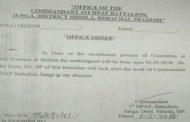 जयराम सरकार की बटालियन में कारनामा,ASP नेगी के बजाय वीरभद्र के EX PSO DSP पदम को प्रभार