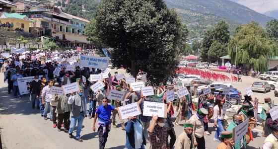 बटसेरी व निगुलसेरी हादसे:  किन्नौर के प्रस्तावित Power Projects को निरस्त करने की मांग, रिकांपिओ में  विरोध रैली